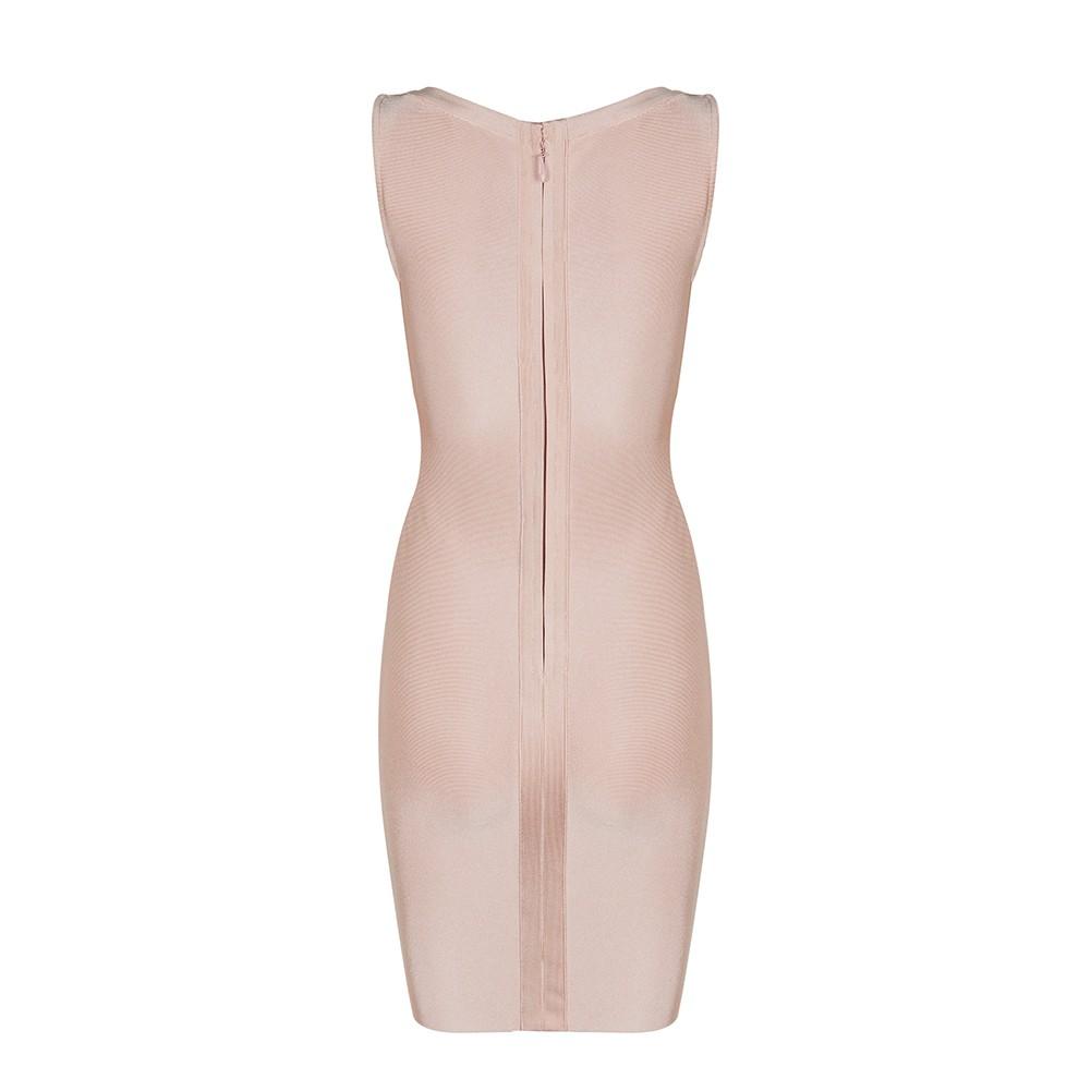 Nude V Neck Sleeveless Mini Lace Up Deep V Sexy Bandage Dress HB1085-Nude