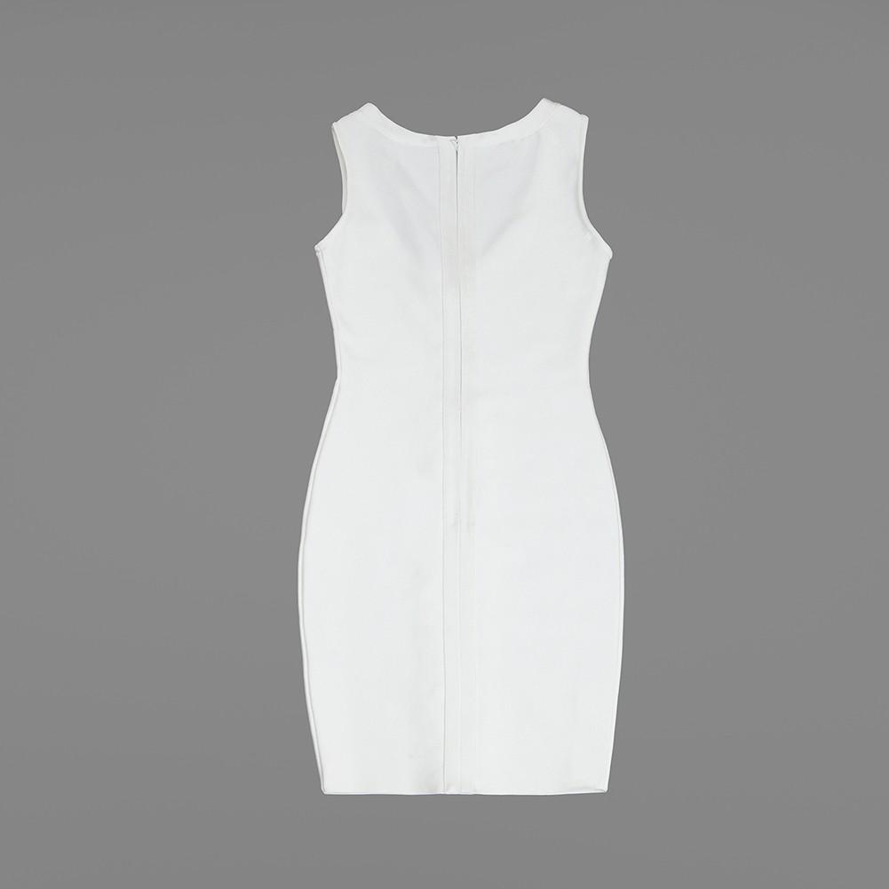 White V Neck Sleeveless Mini Lace Up Deep V Sexy Bandage Dress HB1085-White
