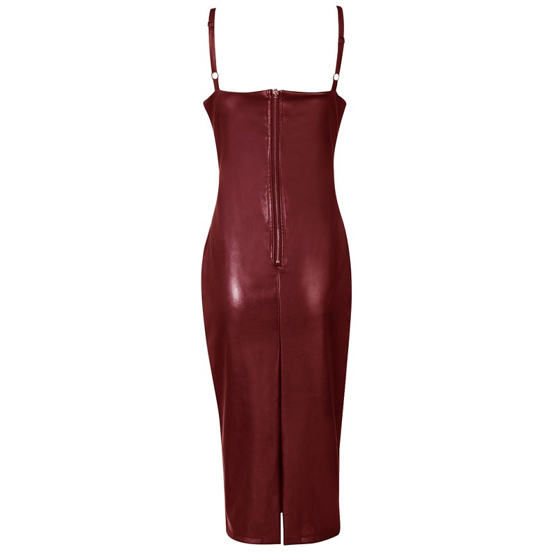 Strapy Sleeveless Over Knee Leather Wine Bodycon Pencil Dress HB405G-Wine