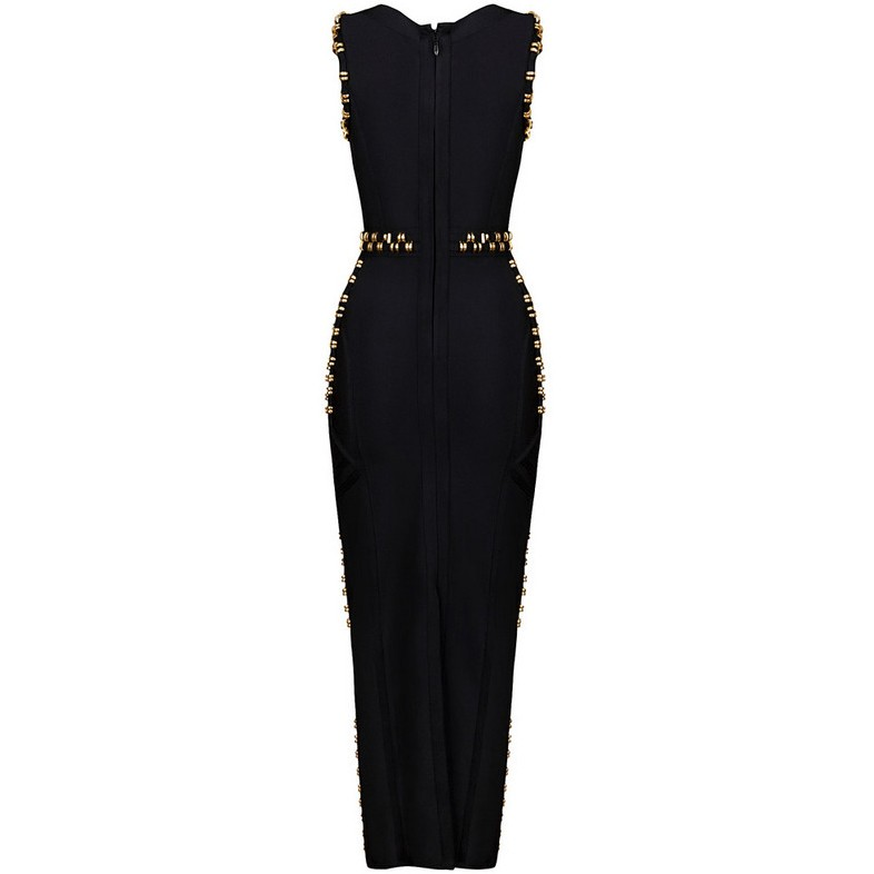 Round Neck Sleeveless Maxi Metal Studded Over Knee Black Long Bandage Dress HB420-black