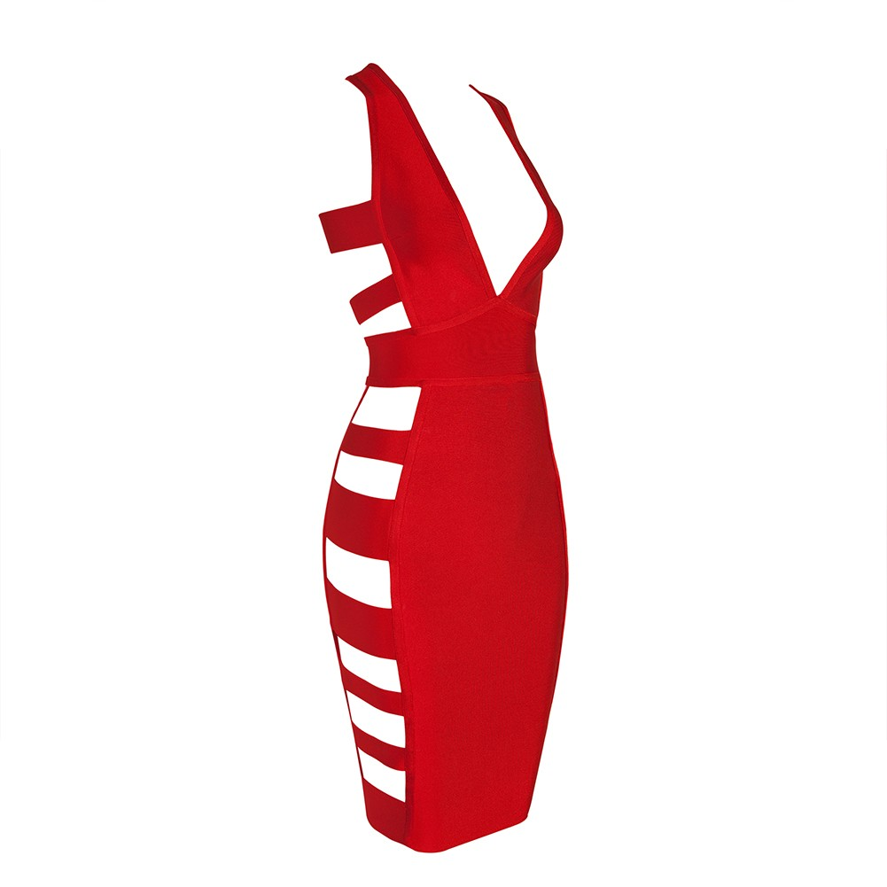 Red V Neck Sleeveless One Piece Side Cut Out Back Zipped Sexy Bandage Dress HB4211-Red