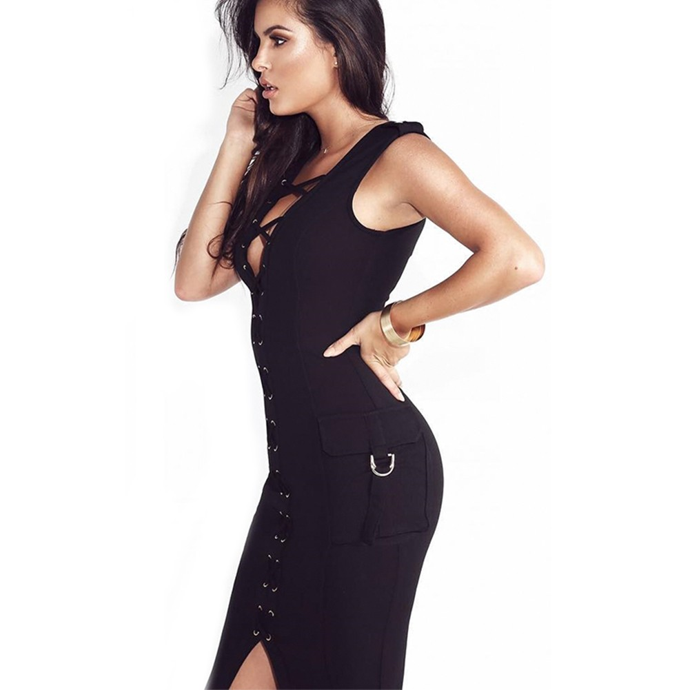 Black V Neck Short Sleeve One Piece With Pocket Cross Evening Bandage Dress HB4309-Black