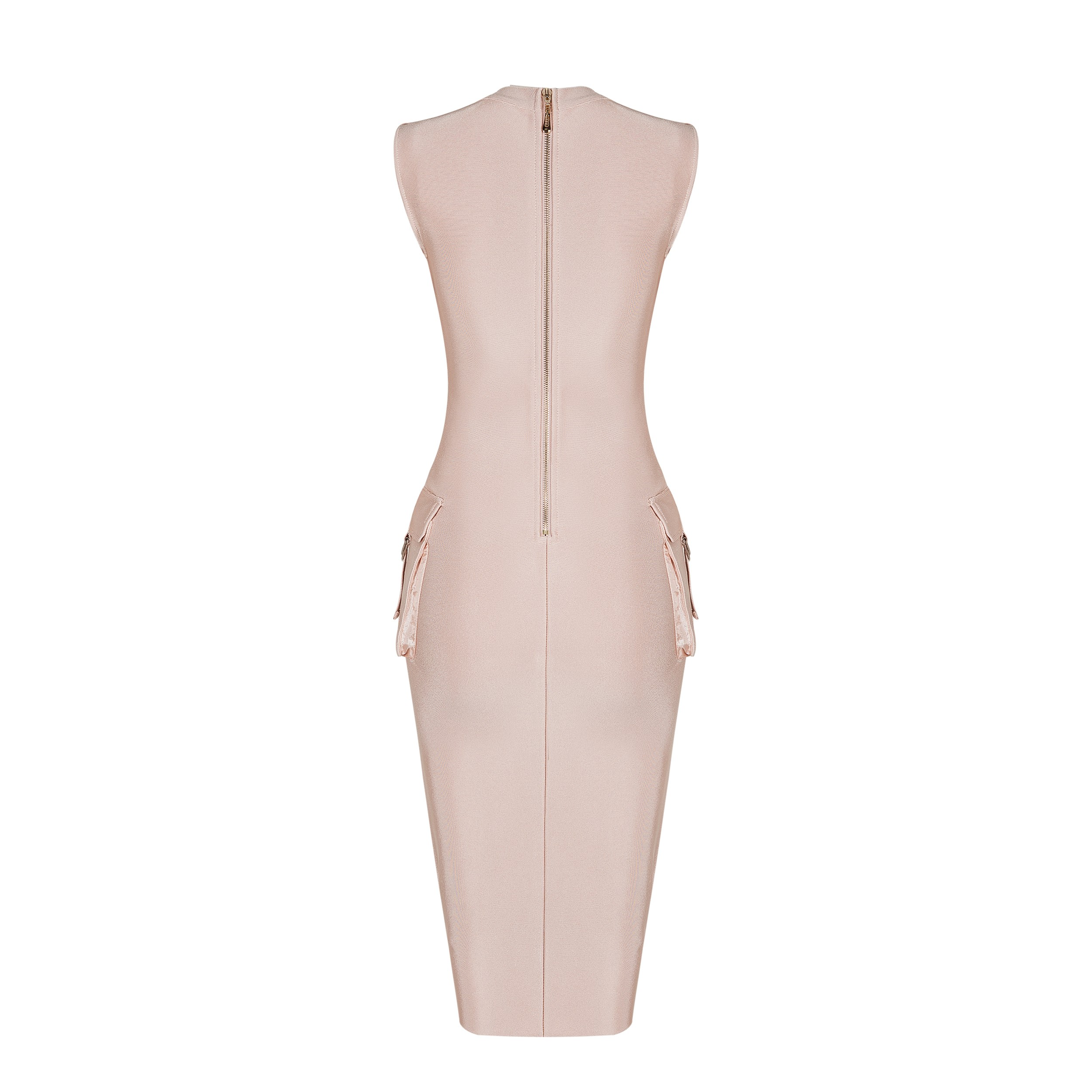 Nude V Neck Short Sleeve One Piece With Pocket Cross Evening Bandage Dress HB4309-Nude