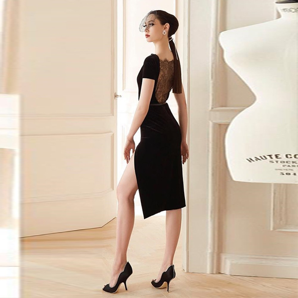 Black Round Neck Short Sleeve Knee Length Lace Side Open Fashion Bandage Dress HB4323-Black