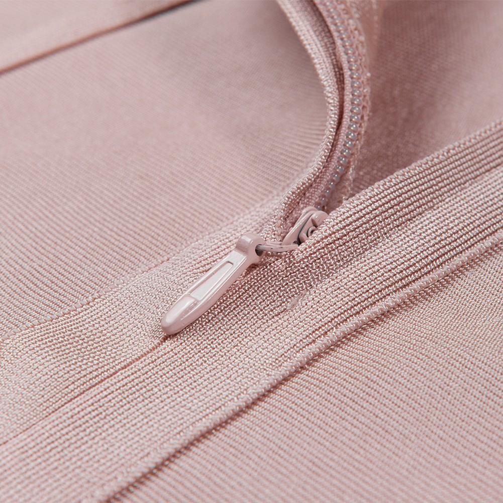 Pink V Neck Sleeveless Over Knee High Quality Bandage Dress HB4365-Pink