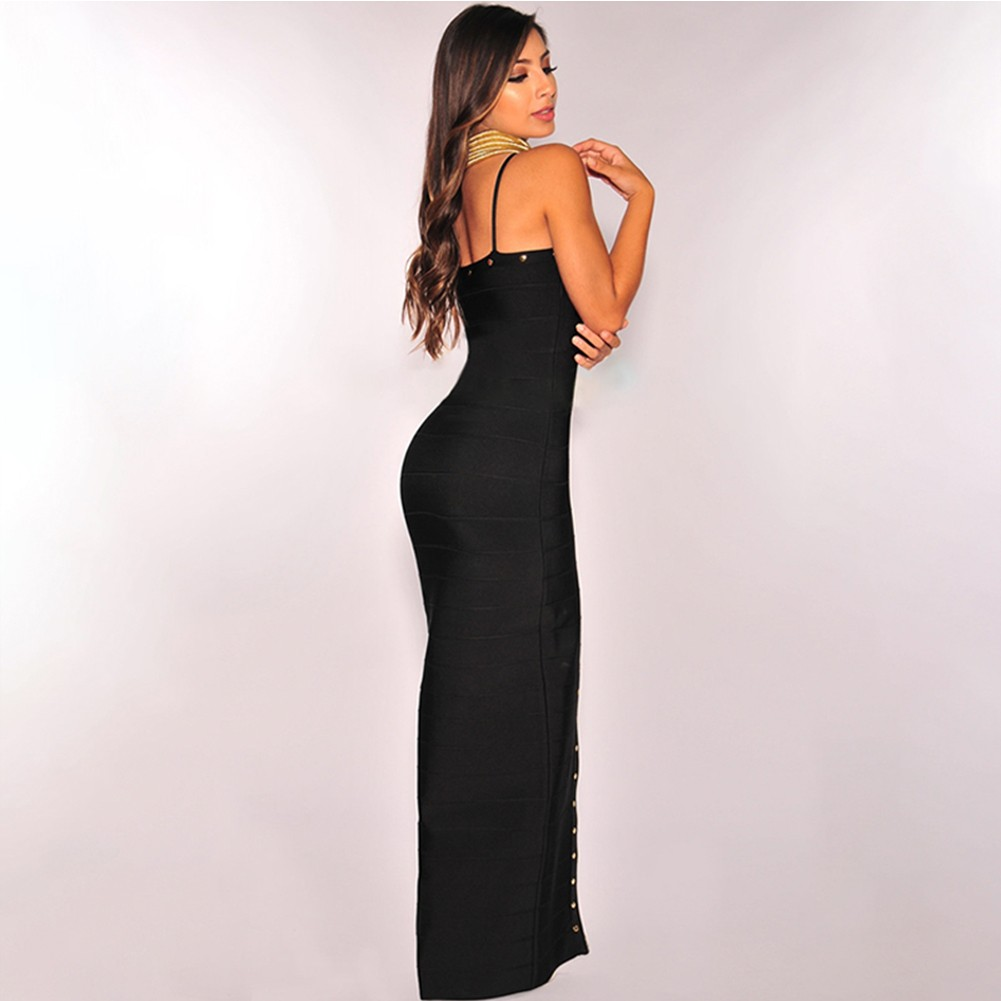 Black Strapy Sleeveless Maxi Metal Decoration Open Side Fashion Bandage Dress HB4366-Black