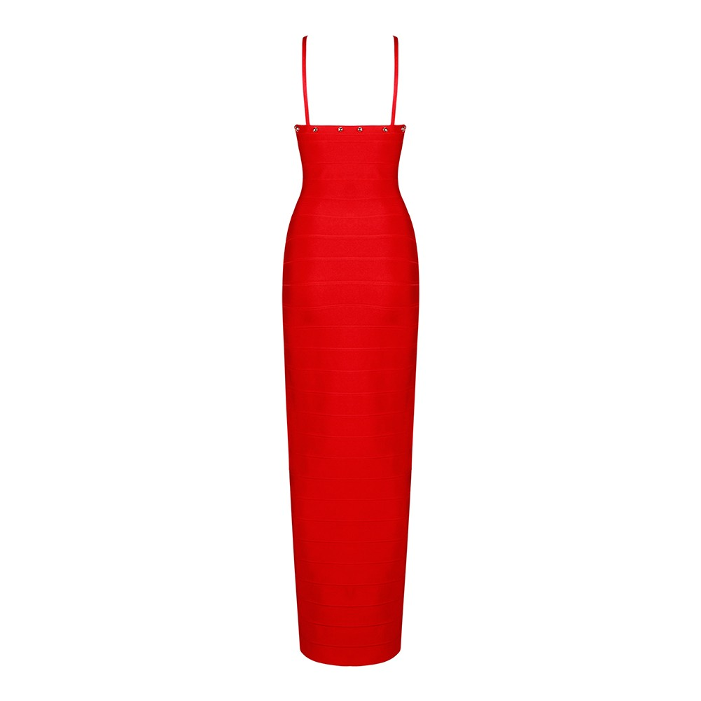 Red Strapy Sleeveless Maxi Metal Decoration Open Side Fashion Bandage Dress HB4366-Red