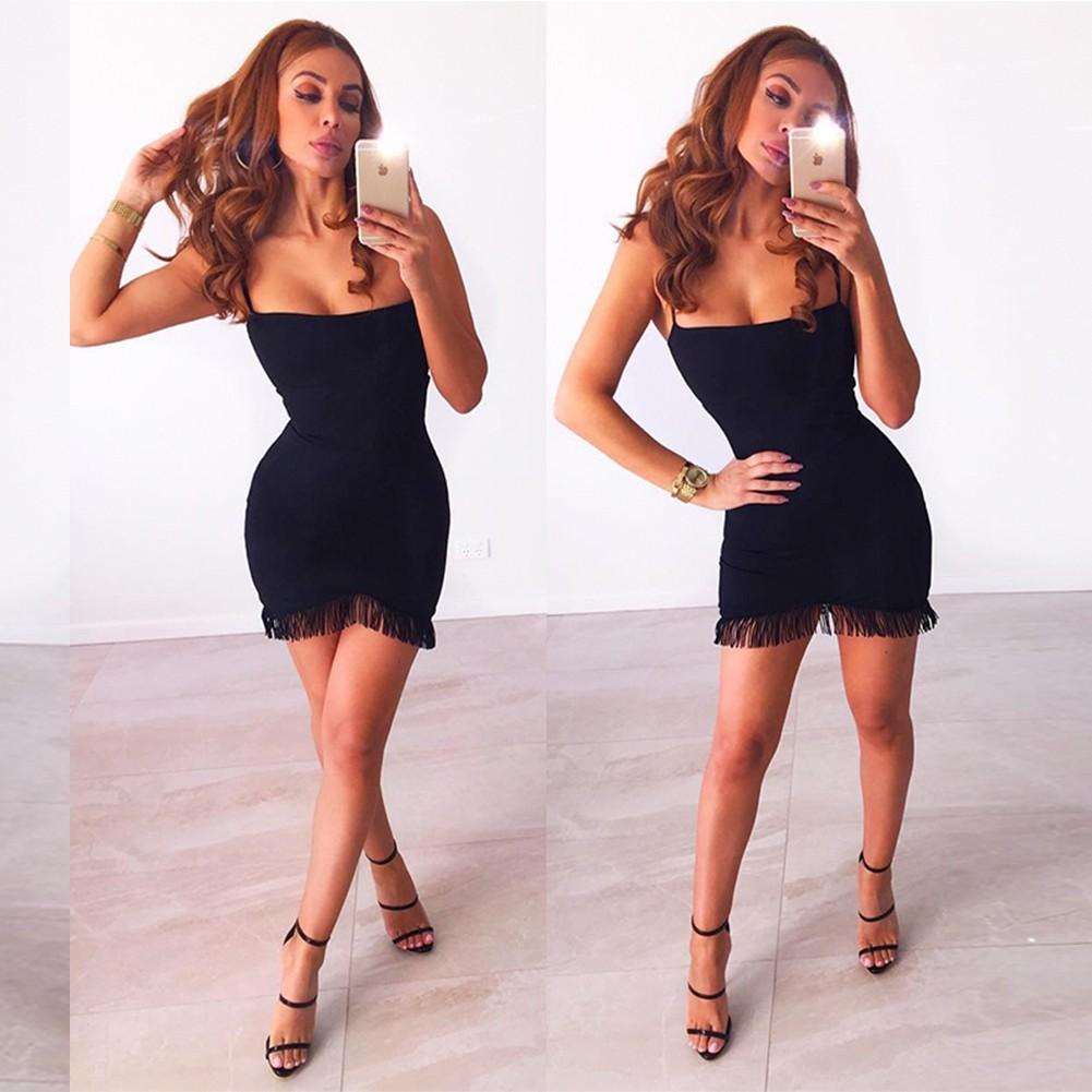Black Strapy Sleeveless Mini Tisseled Front V Neck Hot Bandage Dress HB4392-Black
