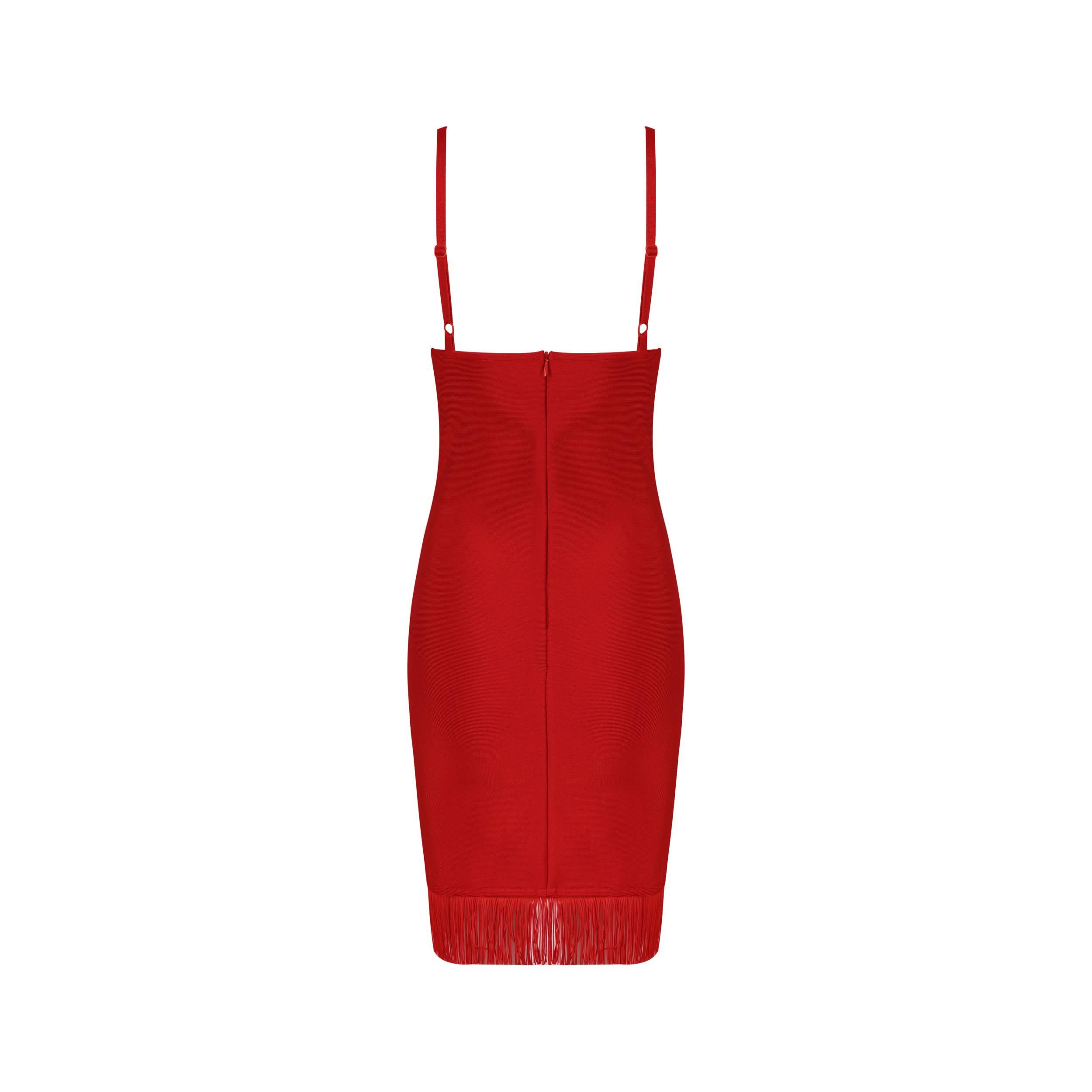 Red Strapy Sleeveless Mini Tisseled Front V Neck Hot Bandage Dress HB4392-Red