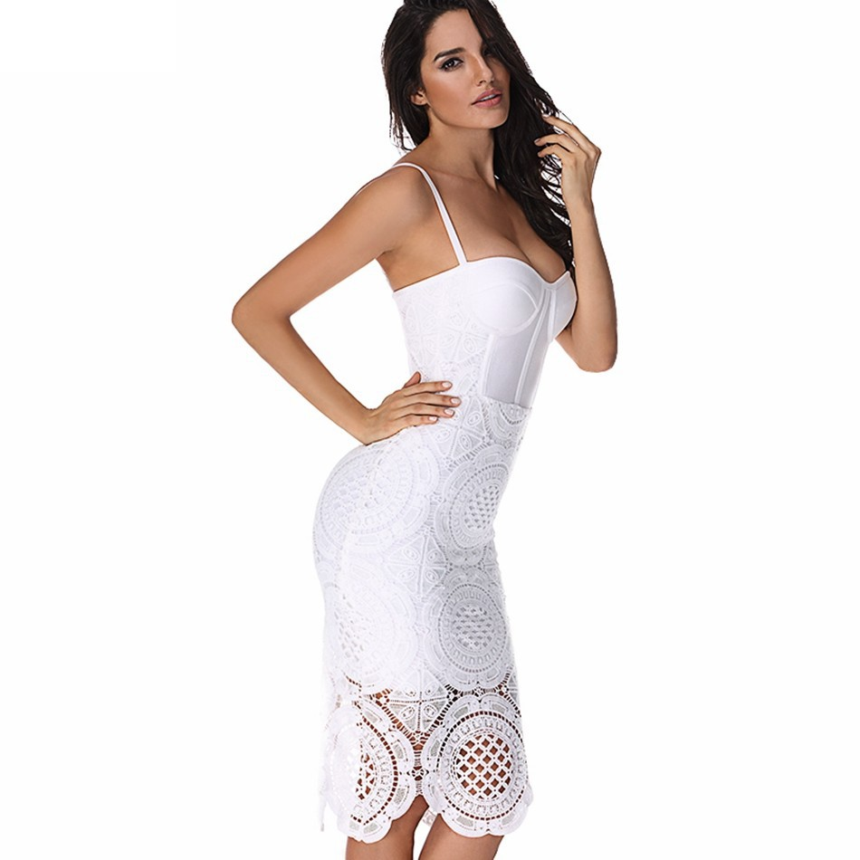 Strapy Sleeveless Over Knee Lace White Good Price Bandage Dress HB441-WHITE