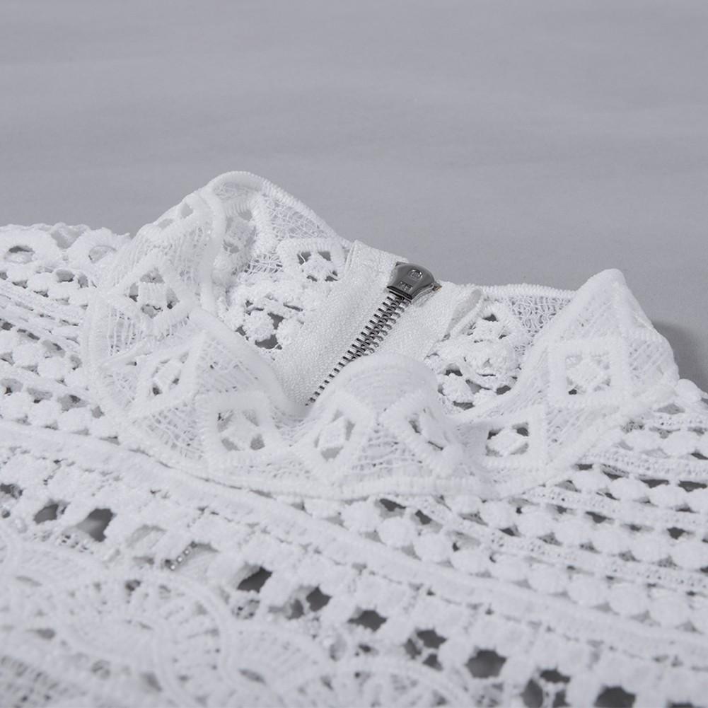 White Round Neck Long Sleeve Mini Lace Fashion Bandage Dress HB4412-White
