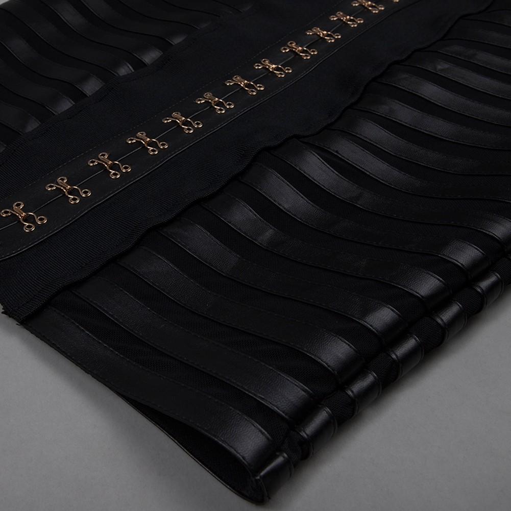Black Halter Sleeveless 2 Piece Off Shoulder Leather Fashion Bandage Dress HB4430-Black
