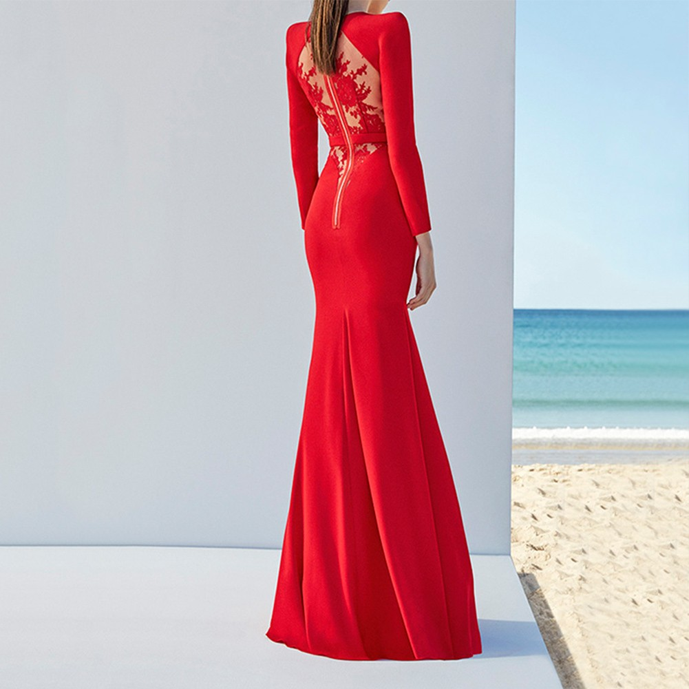 Red Round Neck Long Sleeve Maxi Lace Back Sexy Bandage Dress HB4437-Red