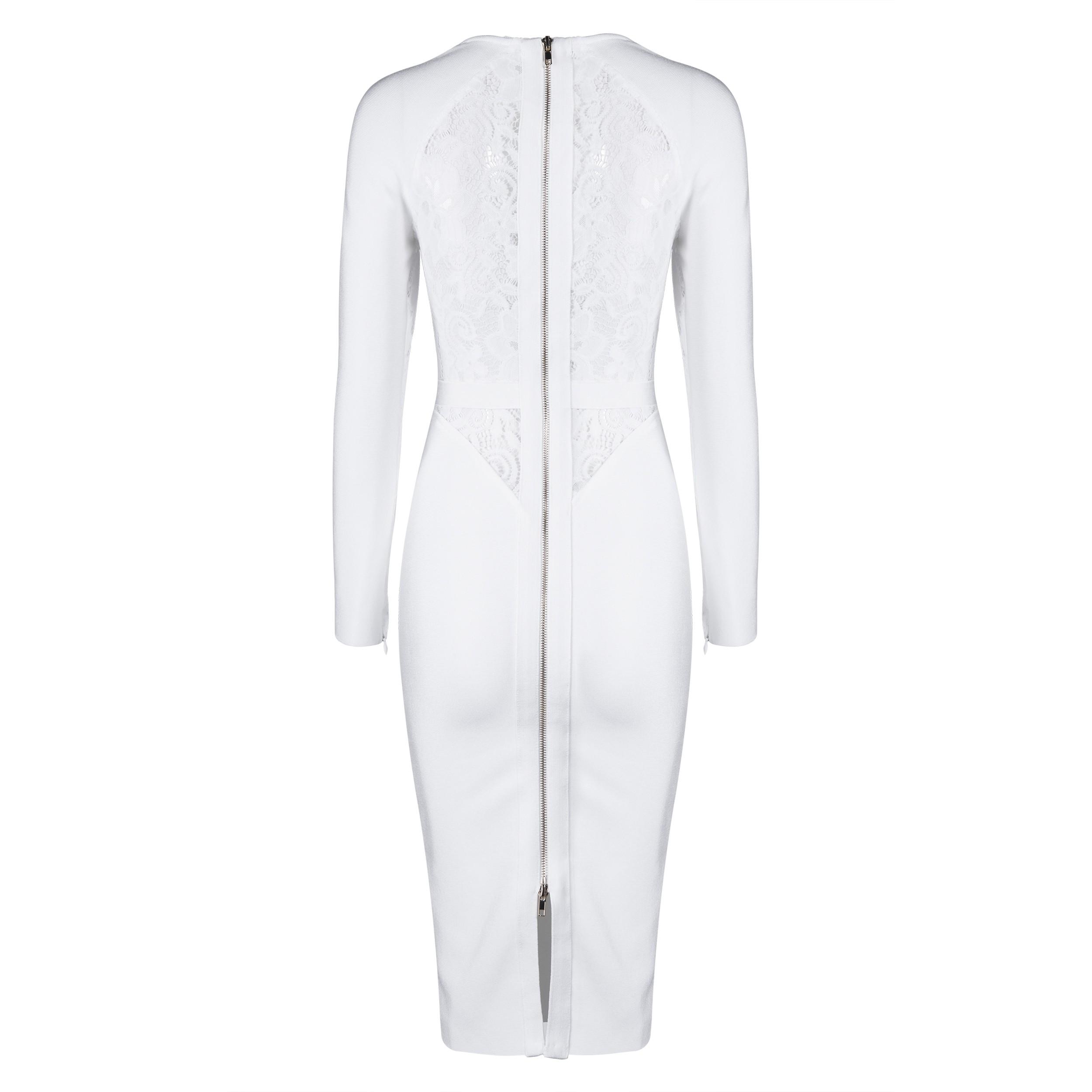 White Round Neck 3/4 Sleeve Over Knee Lace Up High Quality Bandage Dress HB4438-White