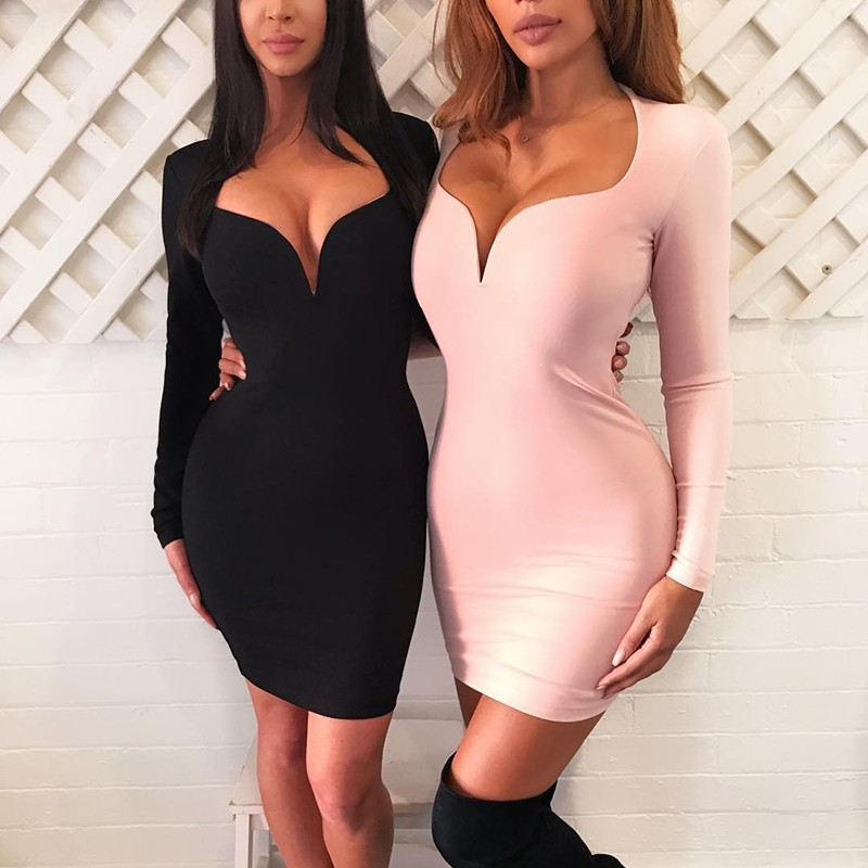 Black V Neck Long Sleeve Mini High Quality Bandage Dress HB4449-Black