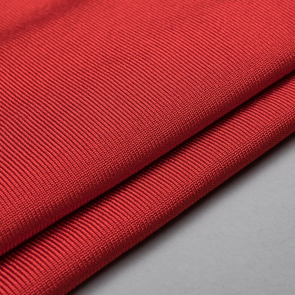Red V Neck Long Sleeve Mini High Quality Bandage Dress HB4449-Red