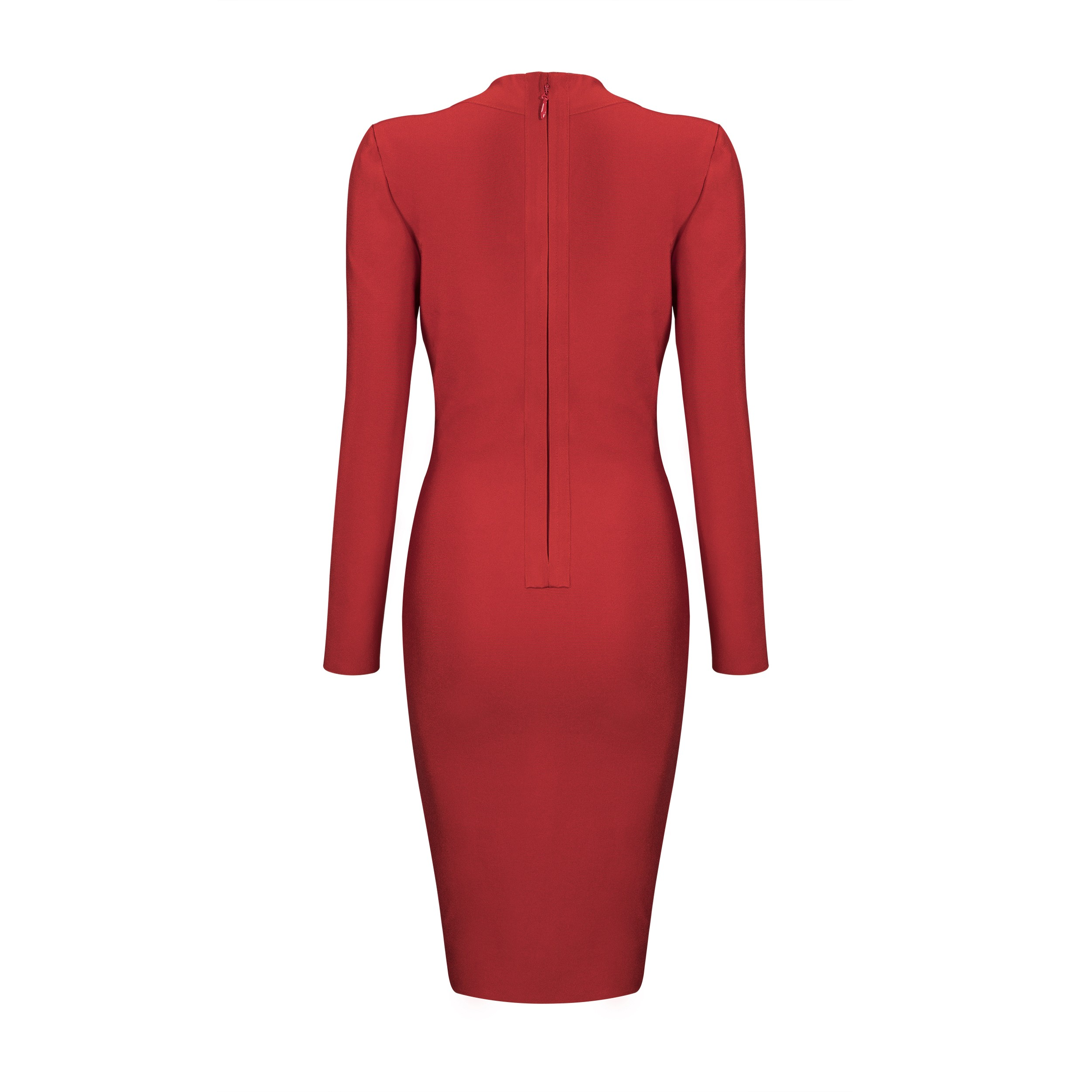 Red V Neck Long Sleeve Mini Sexy Bandage Dress HB4450-Red