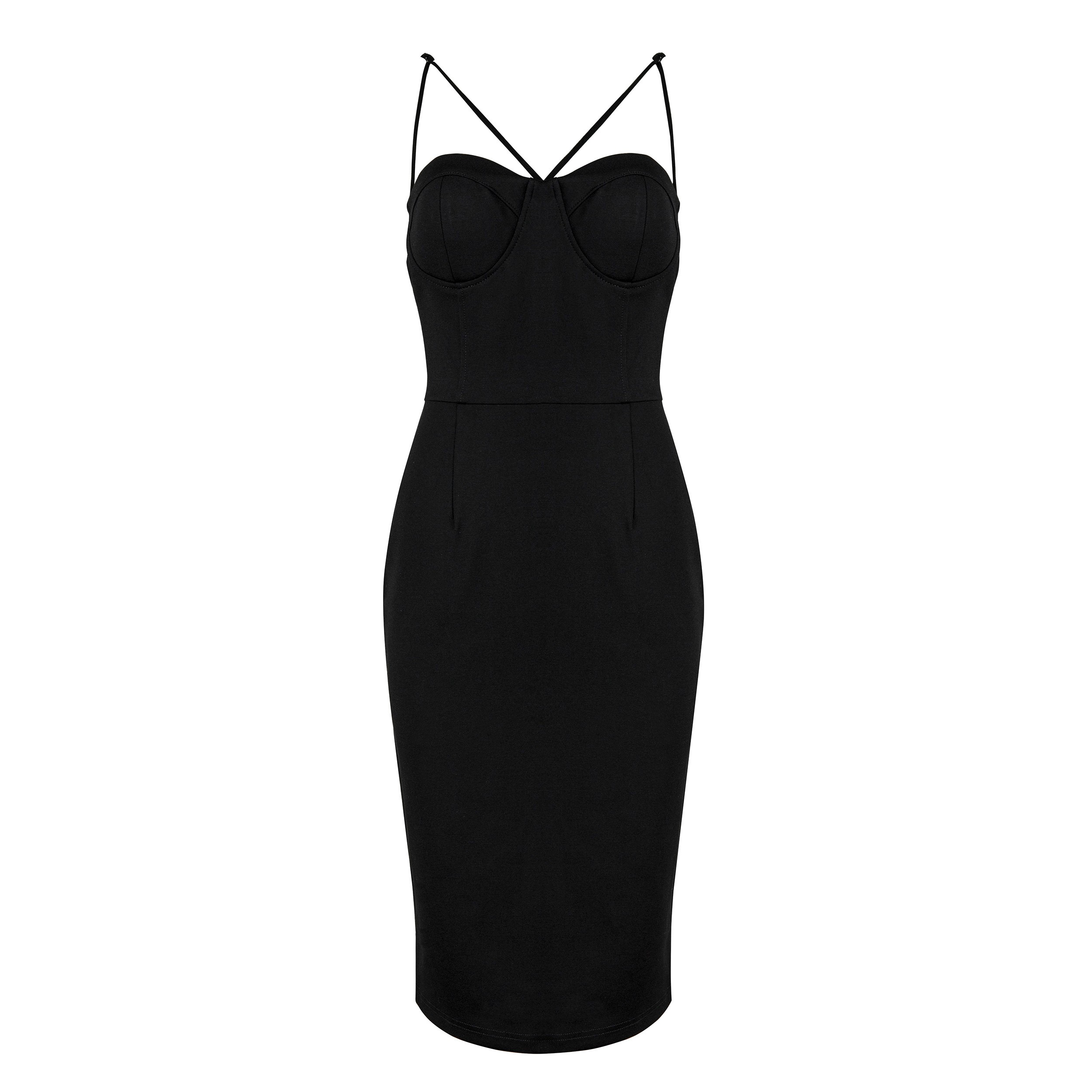 Black Strapy Sleeveless Over Knee Flat Party Bandage Dress HB4458-Black