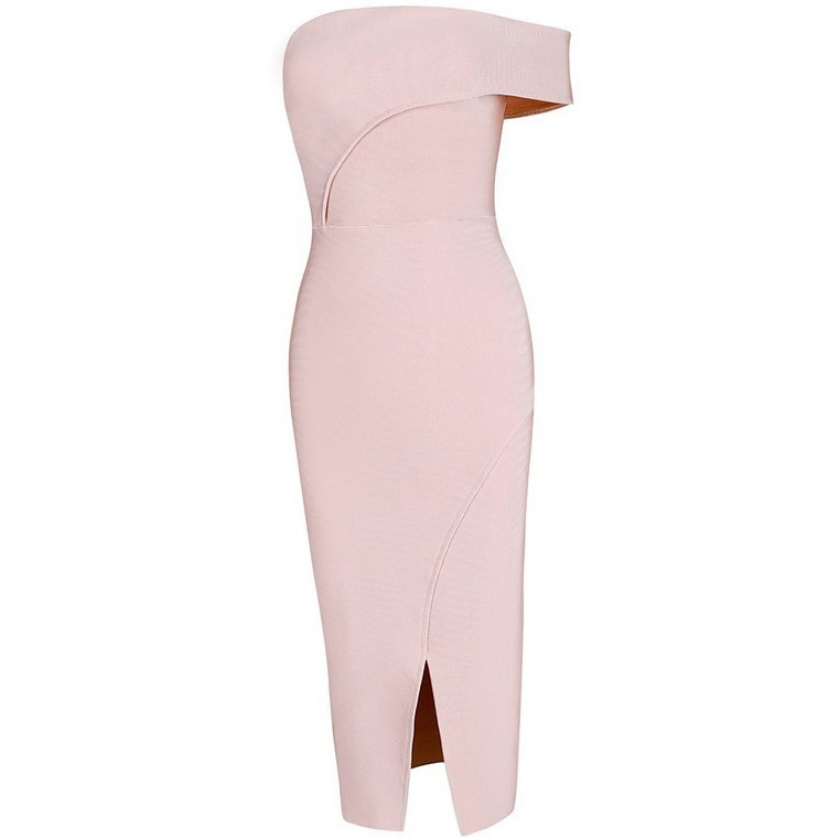 Off Shoulder Sleeveless Over Knee Cutout Starpless Nude Bodycon Bandage Dress HB449-NUDE