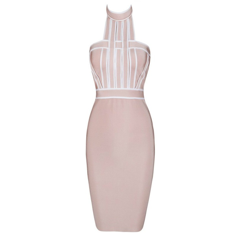 Halter Sleeveless Mini Backless Short Nude Evening Bandage Dress HB474-nude