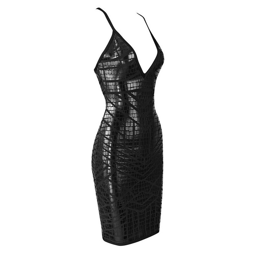 Strapy Sleeveless Mini foil printing Leather Black Strong Quality Bandage Dress HB480-black