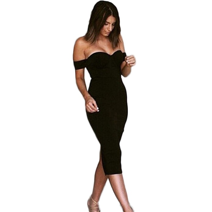 Off Shoulder Sleeveless Mini Slip Over Knee Length Black Hot Selling Bandage Dress HB503-black
