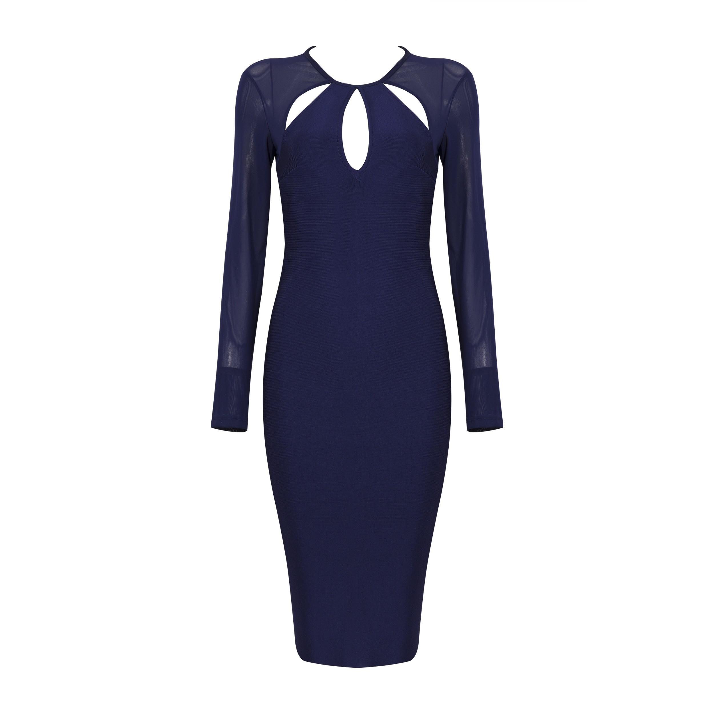 Blue Round Neck Long Sleeve Over Knee Meshed Plain Wholesale Bandage Dress HB5201-Blue