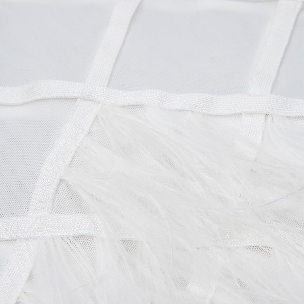 White High Neck Long Sleeve Over Knee Meshed Feather Fashion Bandage Dress HB5225-White