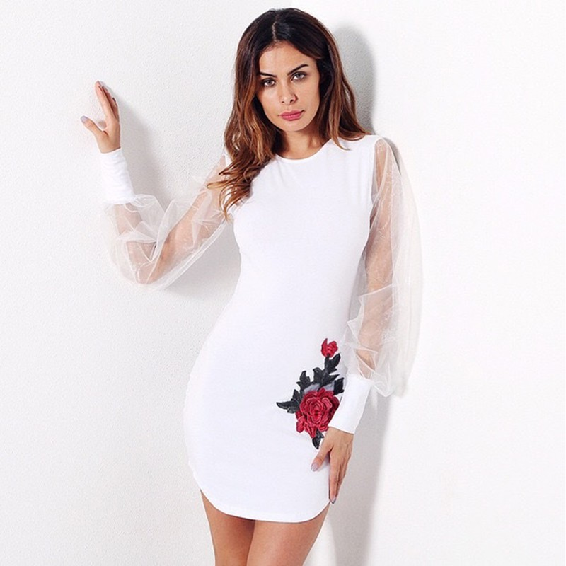 White Round Neck Long Sleeve Mini Mesh Embroidery Fashion Bandage Dress HB5230-White