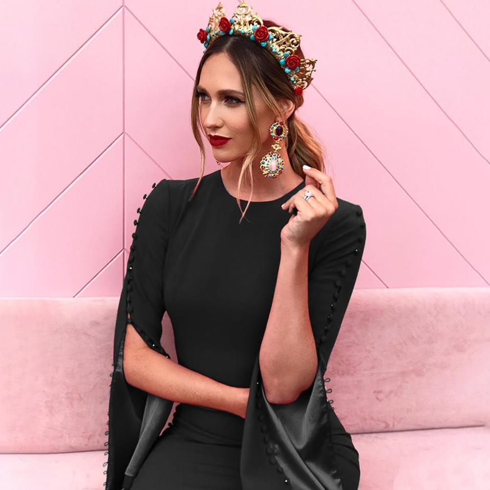Black Round Neck Long Sleeve Mini Fastener Fashion Bandage Dress HB5237-Black