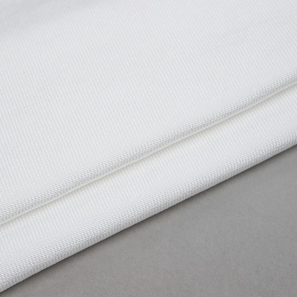 White Round Neck Long Sleeve Mini Fastener Fashion Bandage Dress HB5237-White