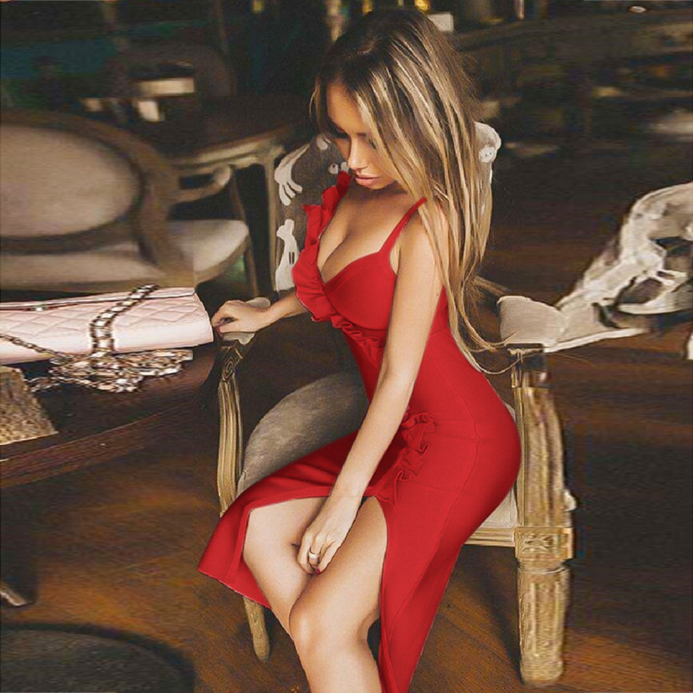 Red Strapy Short Sleeve Mini Ruffles Slit Sexy Bandage Dress HB5250-Red