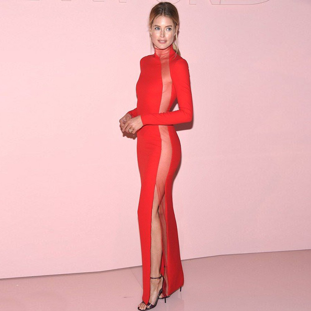Red High Neck Long Sleeve Maxi Side Meshed Slitted Ball Bandage Dress HB5259-Red
