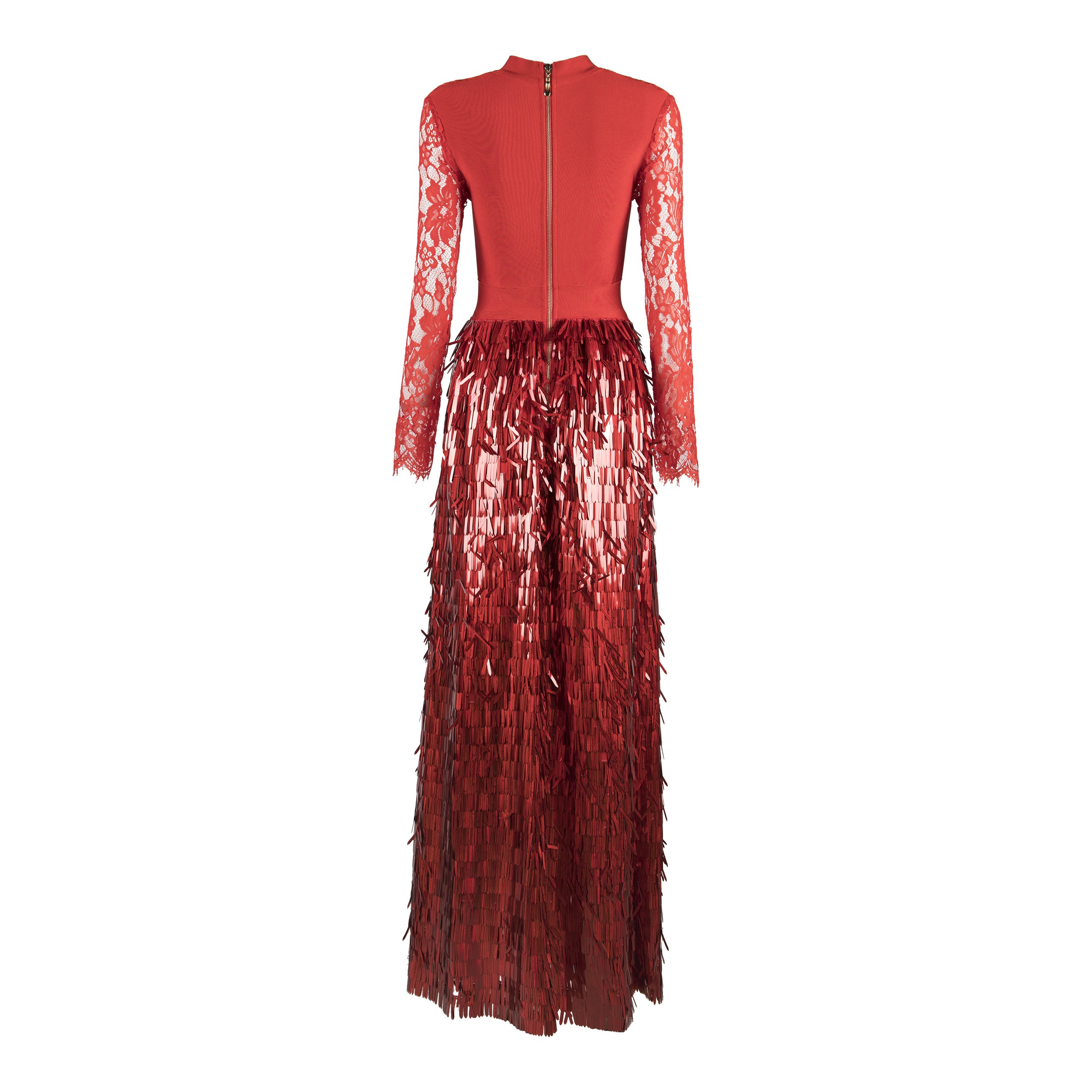 Red High Neck Long Sleeve Maxi Sequined Lace Bling Bandage Dress HB5261-Red