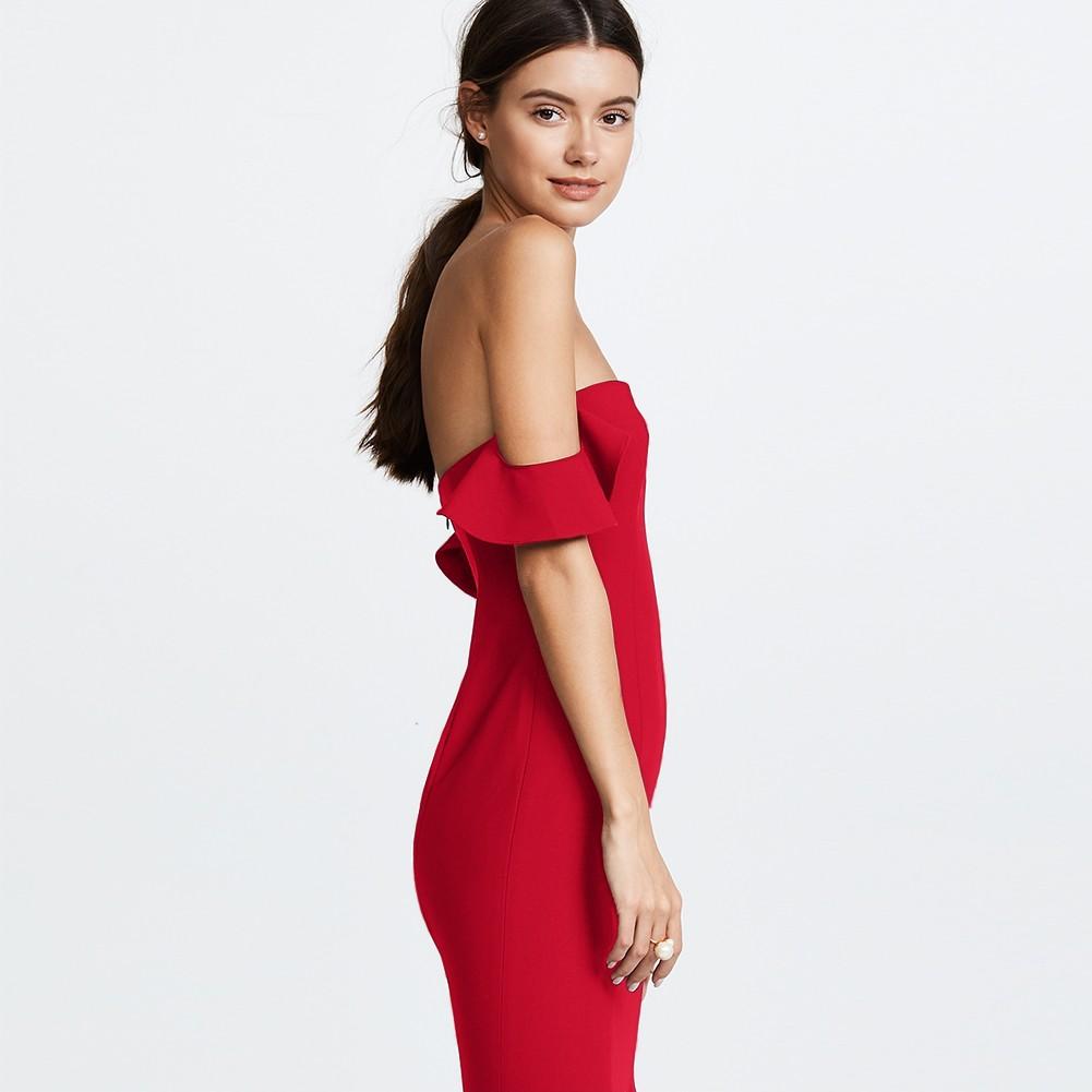 Red Off Shoulder Sleeveless Maxi Plain Fishtail Fashion Bandage Dress HB5271-Red