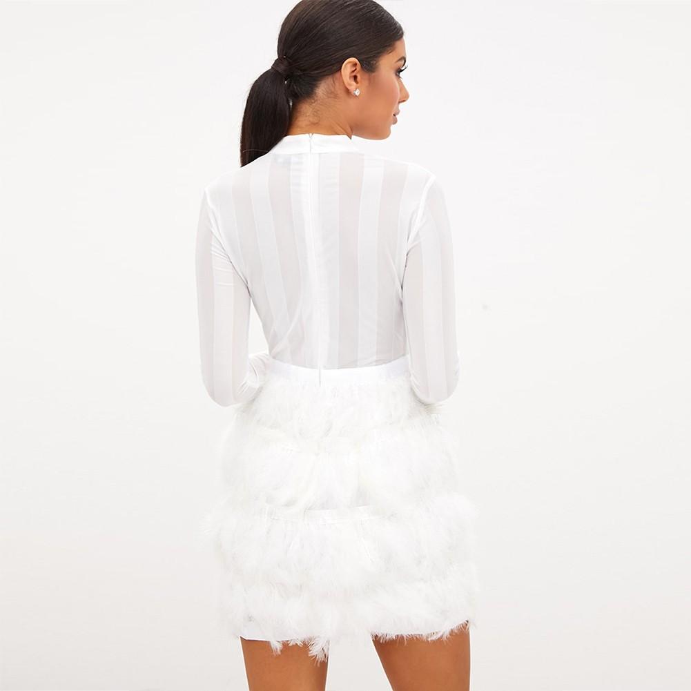White Round Neck Long Sleeve Mini Feather Fashion Bandage Dress HB5280-White