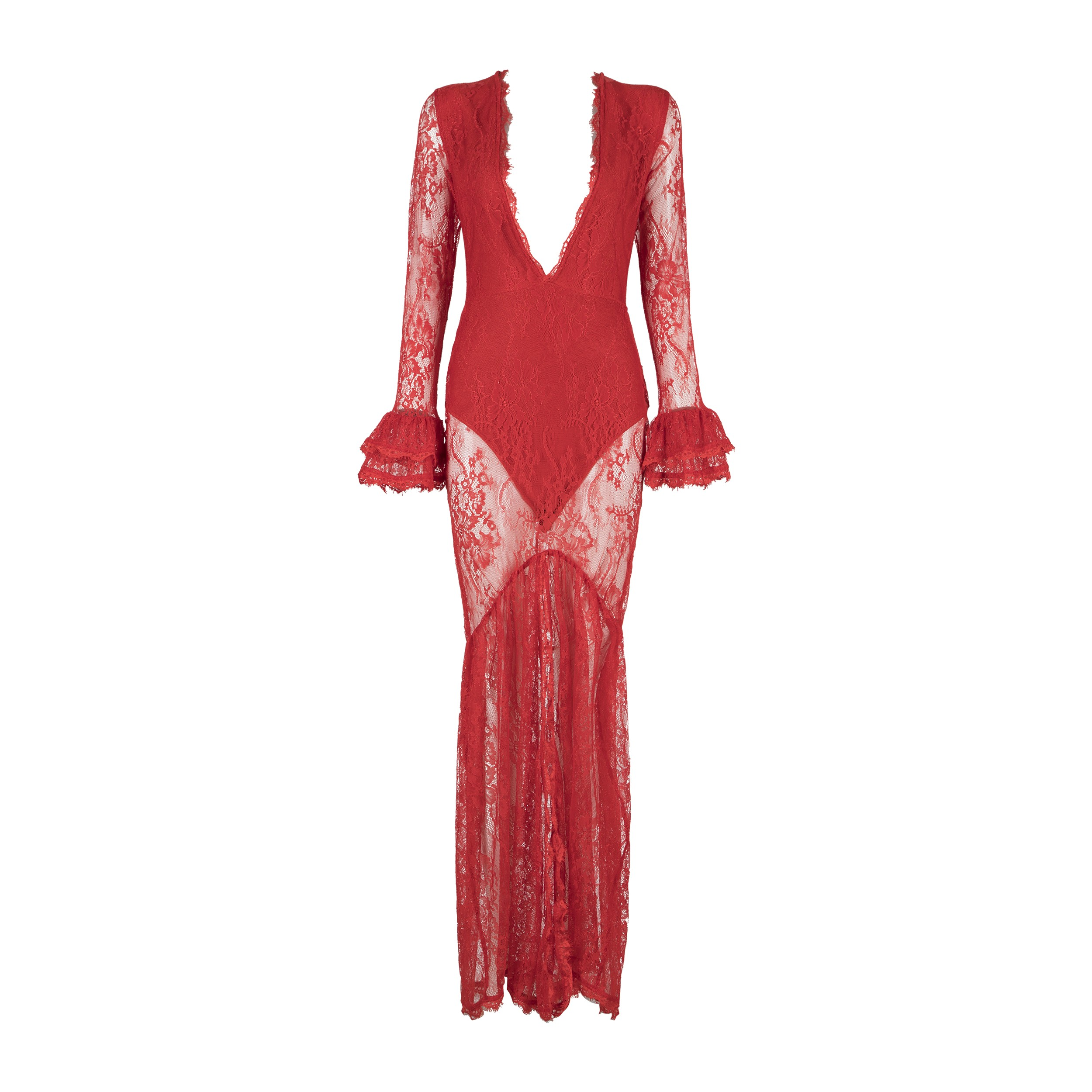Red V Neck Long Sleeve Maxi Lace Fashion Bodycon Dress HB5281-Red