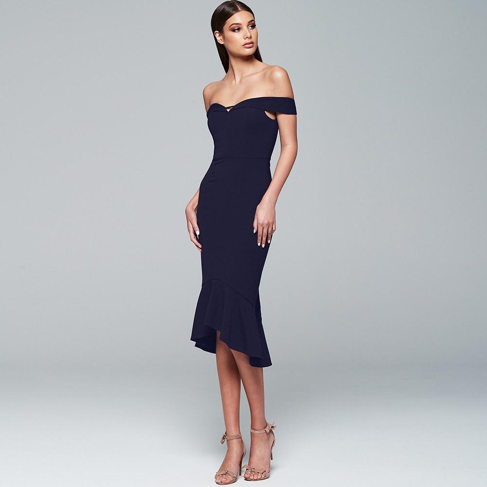 Black Off Shoulder Sleeveless Over Knee Plain Fishtail Fashion Bandage Dress HB5290-Black