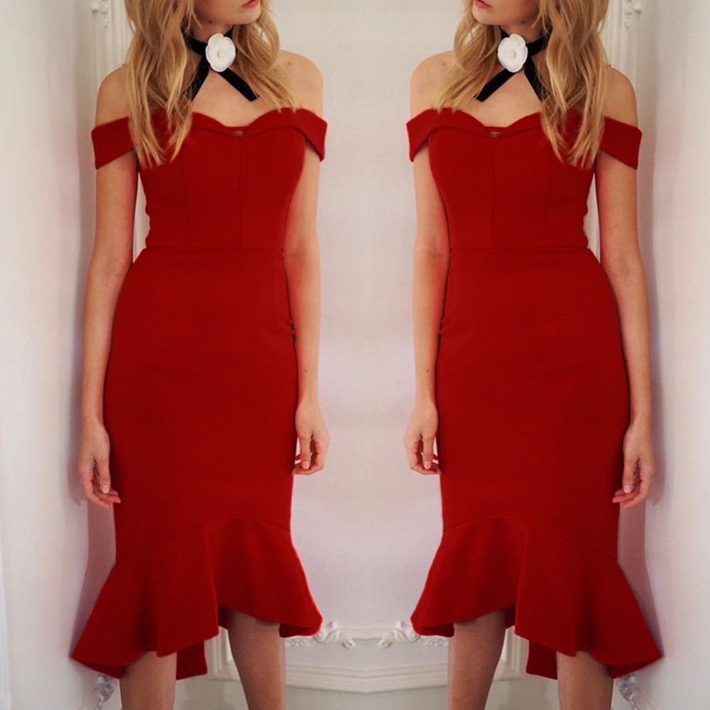 Red Off Shoulder Sleeveless Over Knee Plain Fishtail Fashion Bandage Dress HB5290-Red