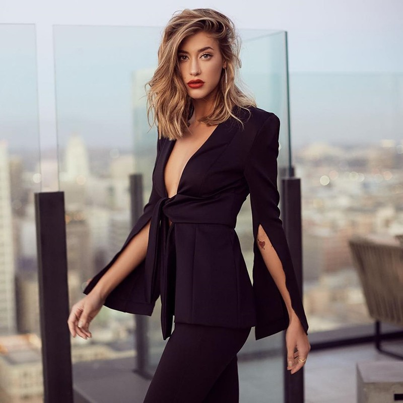 Black V Neck Long Sleeve 2 Piece Cut Out Fashion Bodycon Suit HB5291-Black