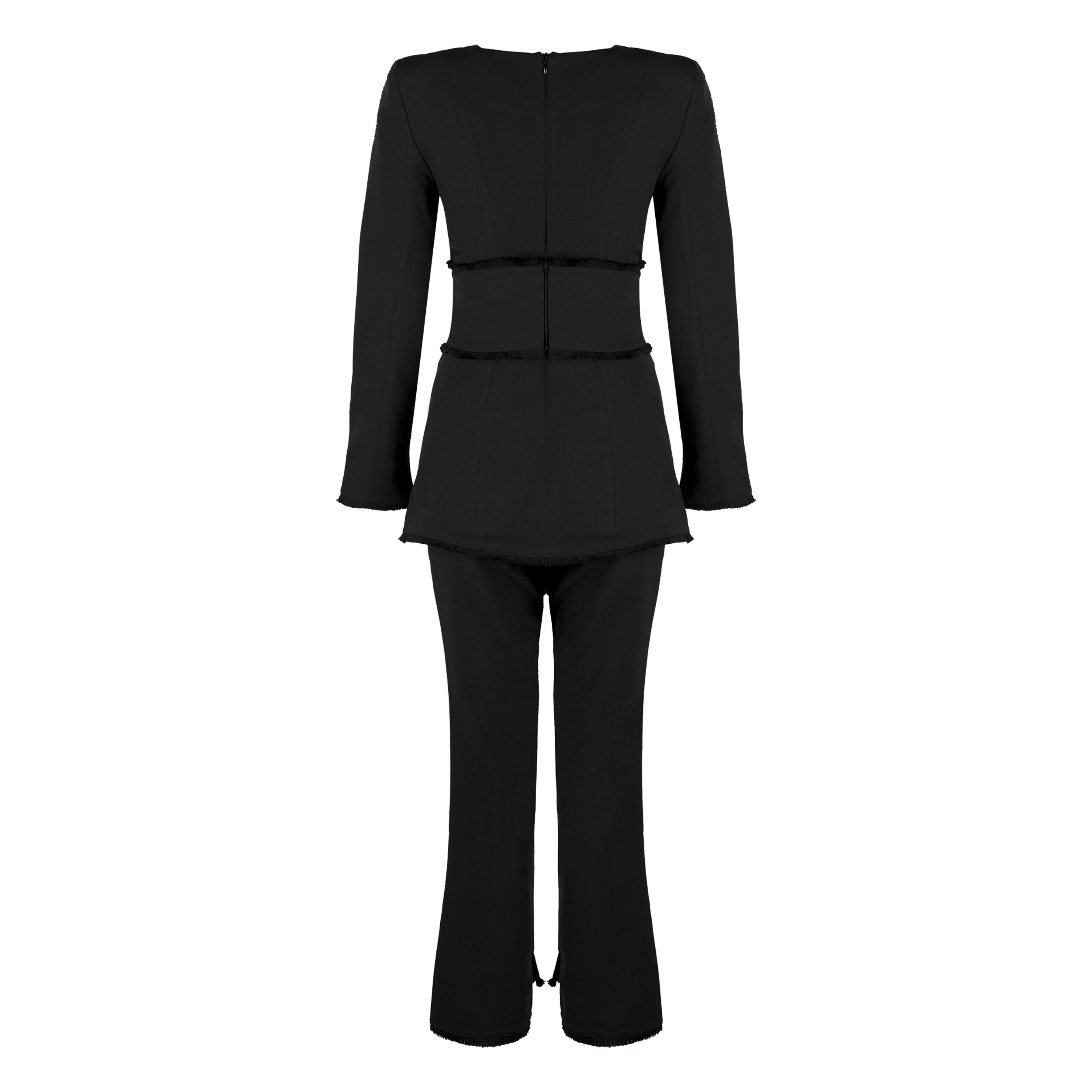 Black Round Neck Long Sleeve 2 Piece Fashion Outfit HB5295-Black