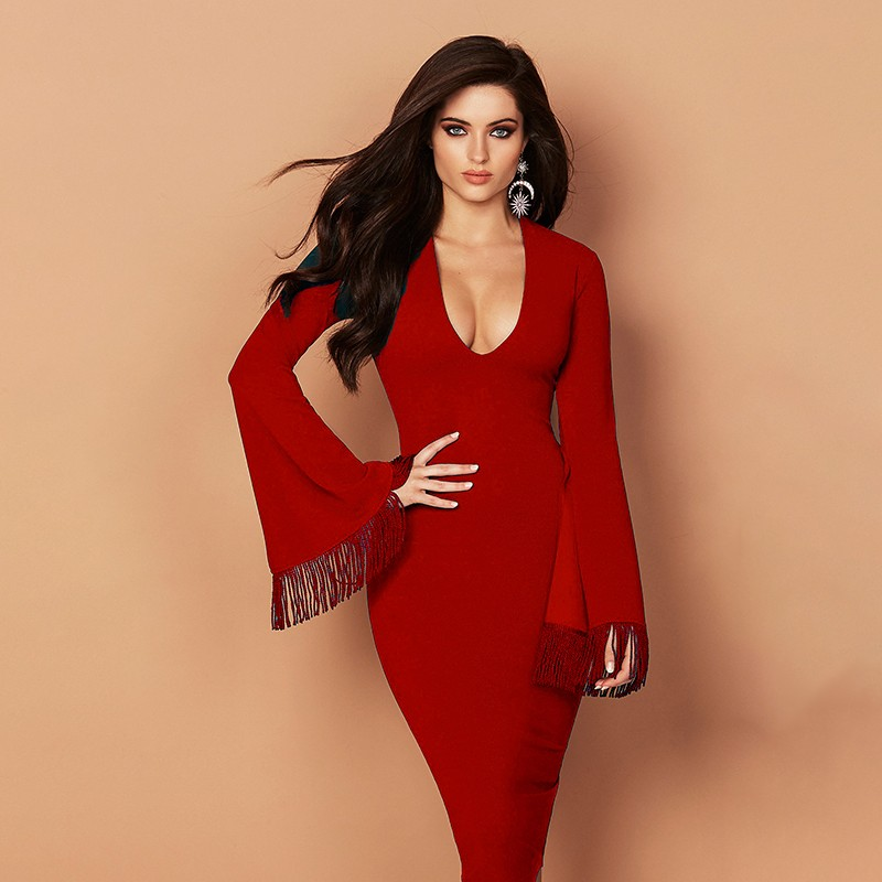 Red V Neck Long Sleeve Knee Length Tassel Party Bandage Dress HB5296-Red