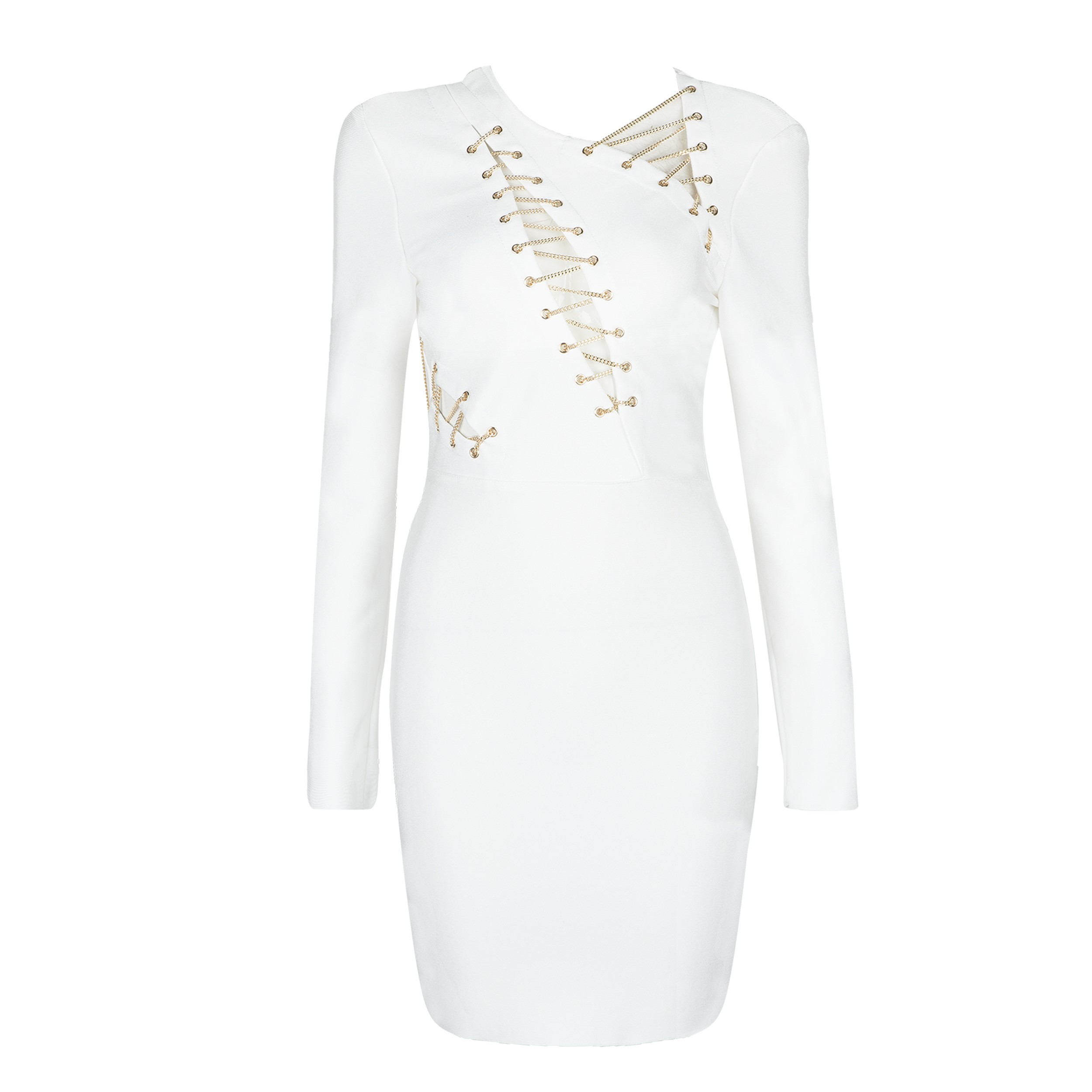 White Round Neck Long Sleeve Mini Metal Studded Fashion Bandage Dress HB5298-White