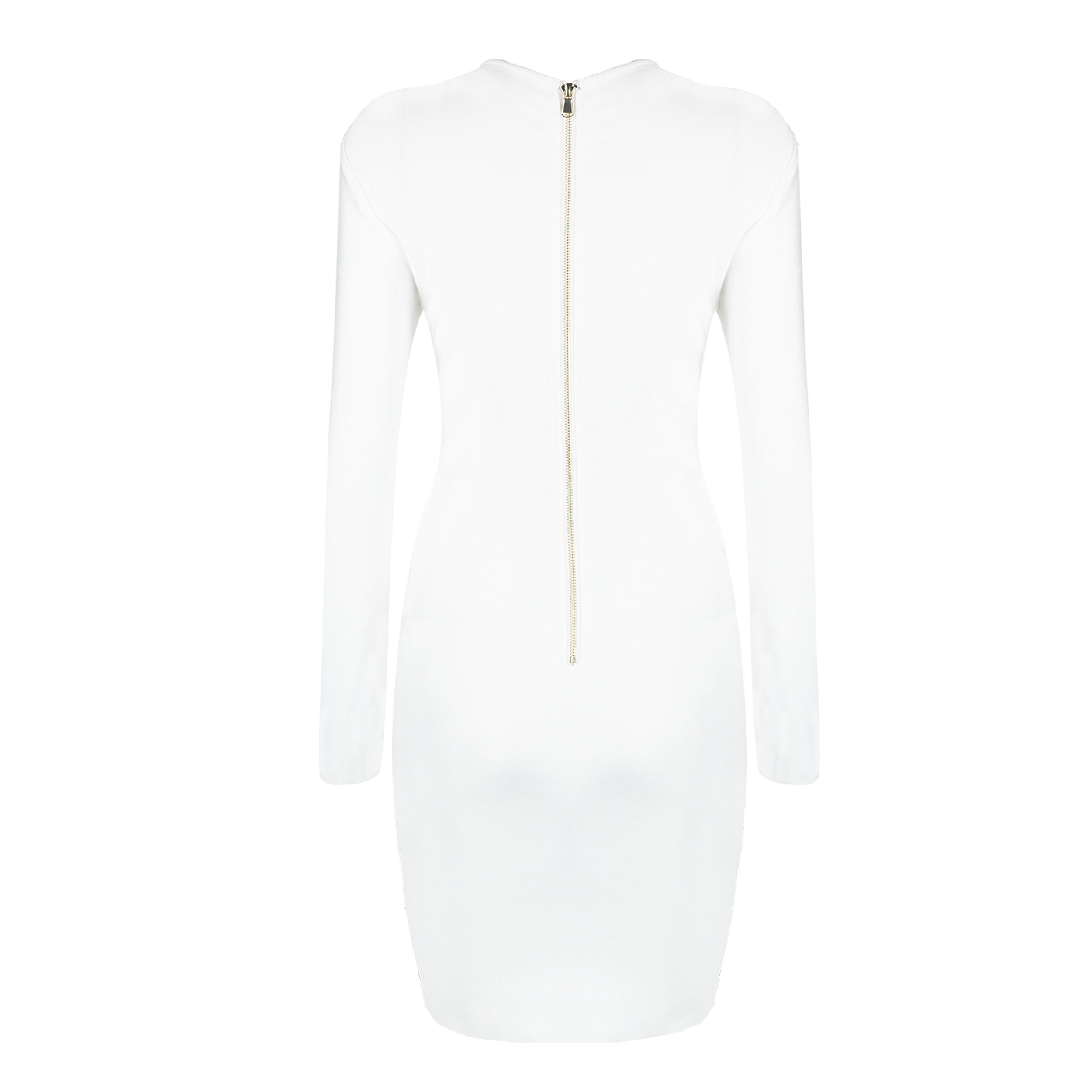 White Round Neck Long Sleeve Mini Metal Studded Fashion Bandage Dress HB5298-White