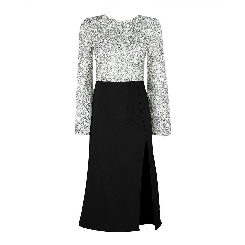 Black Round Neck 3/4 Sleeve Over Knee Side Slitted Top Lace Elegant Bandage Dress HB5299-Black