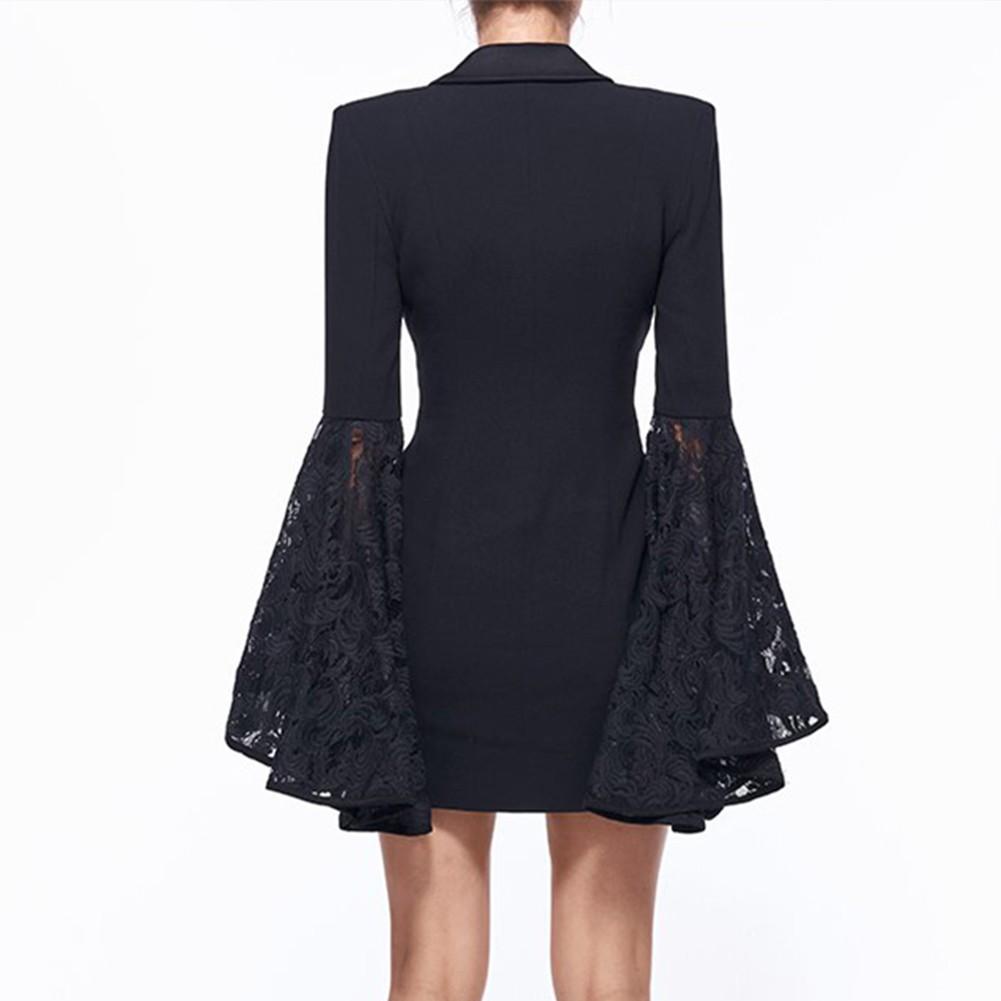 Black V Neck Long Sleeve Mini Plain Ruffle Fashion Coat HB5304-Black