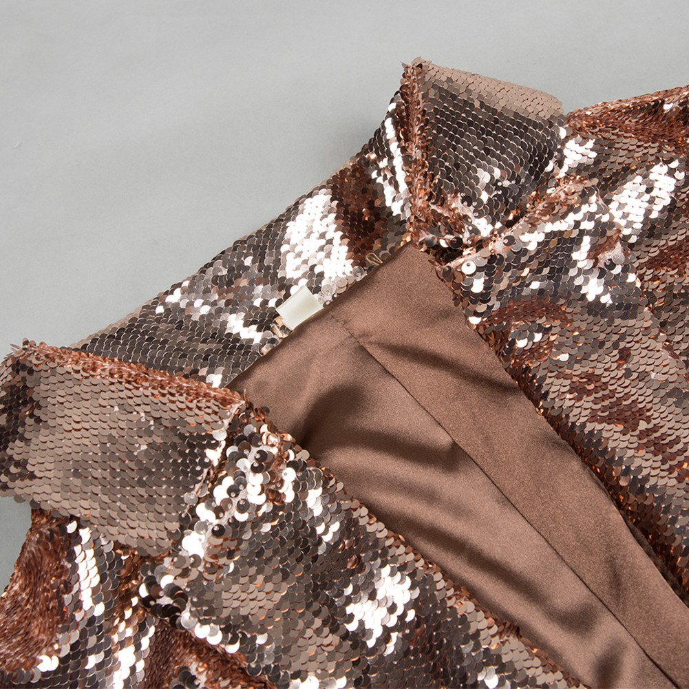 Gold V Neck Long Sleeve Maxi Sequins Fashion Coat HB5305-Gold