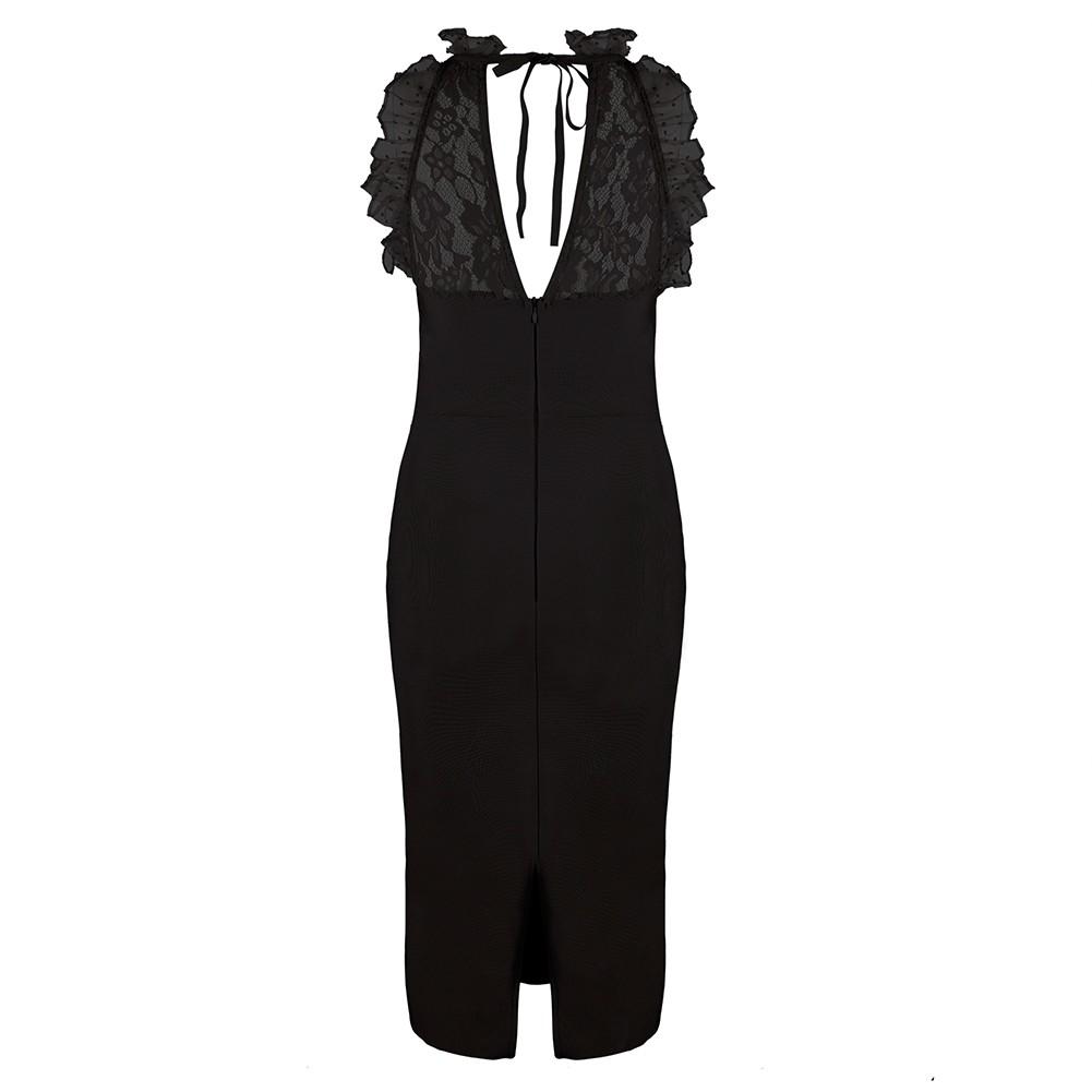Black Halter Sleeveless Mini Lace Embellished Back Slitted High Quality Bandage Dress HB5308-Black