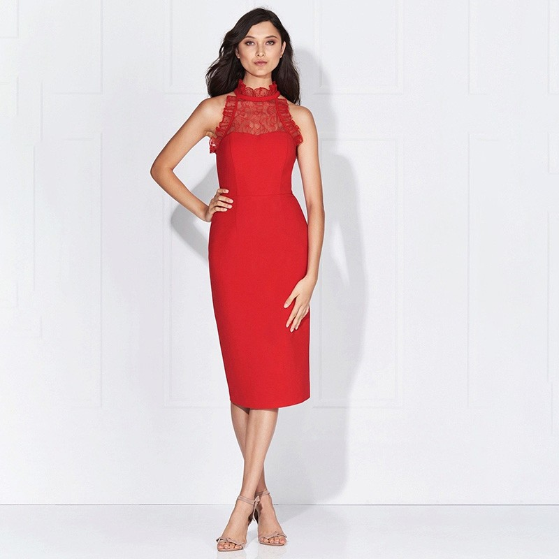 Red Halter Sleeveless Mini Lace Embellished Back Slitted High Quality Bandage Dress HB5308-Red