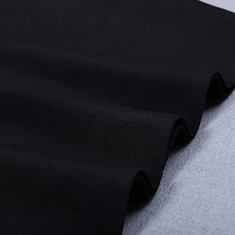Black Round Neck Cap Sleeve Mini Tassels Party Bandage Dress HB5309-Black